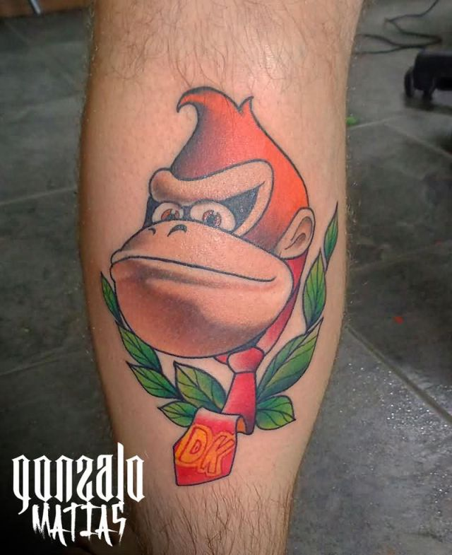 Horrible Donkey Kong Tattoo For Boy's leg