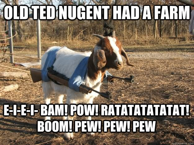 Hunting Meme old ted nugent had a farm eiei bam