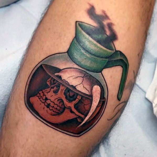 Incredible Coffee Tattoo For boy's leg