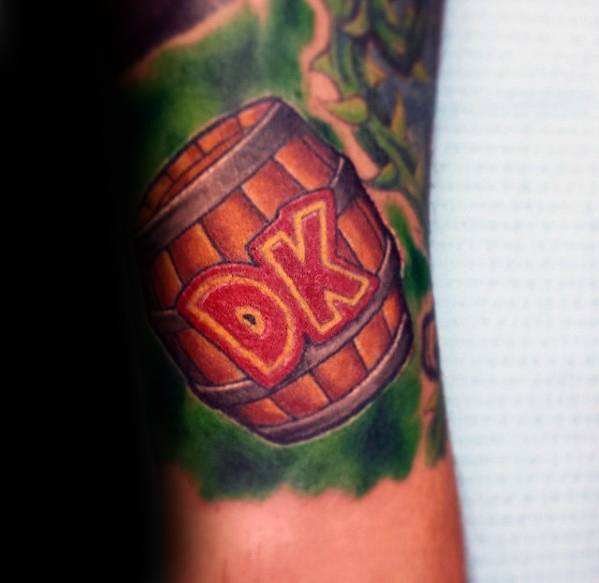 Inspiring Donkey Kong Tattoo On Arm for Boy