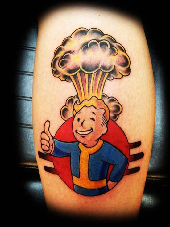 Latest Fallout Tattoo On leg for beautiful ladies