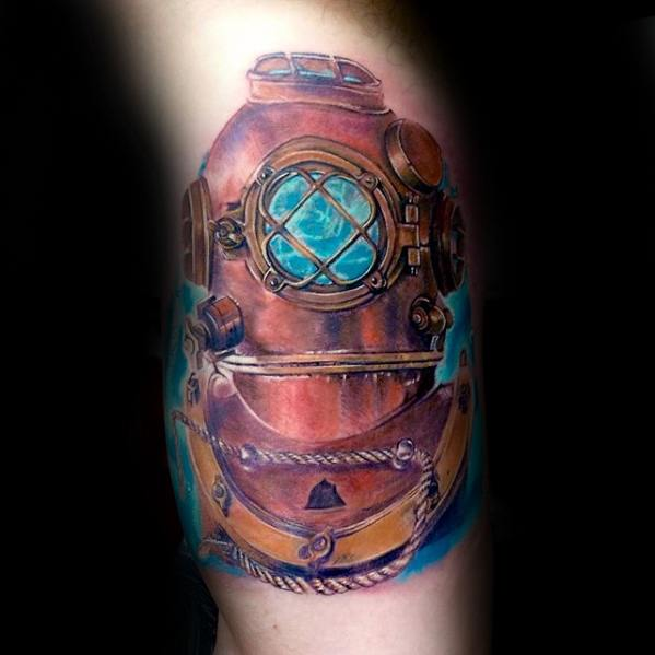 Lovely Diving Helmet Tattoo For Boy's arm
