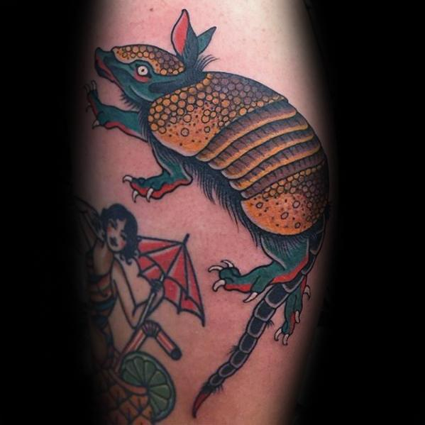 Marvelous Armadillo Tattoo On leg for men's