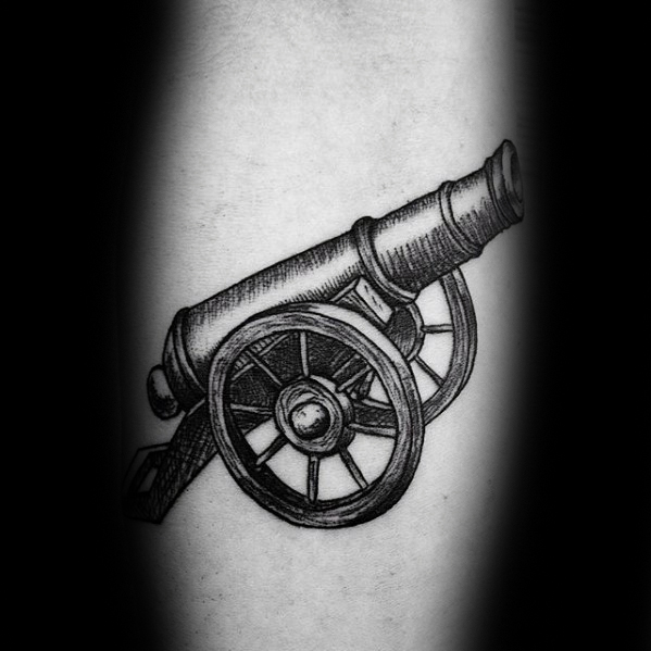 Marvelous Cannon Tattoo On Leg for Girls