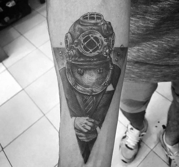 Motivational Diving Helmet Tattoo for ARm