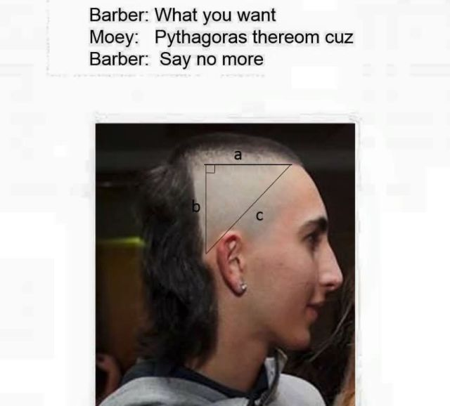 Mullet Meme Barber what you want moey pythagoes thereom