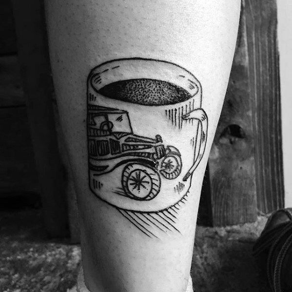 Nice Coffee Cup Tattoo For leg