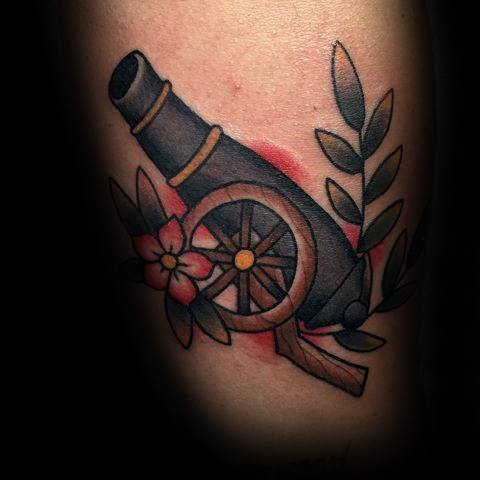 Out standing Cannon Tattoo For legs