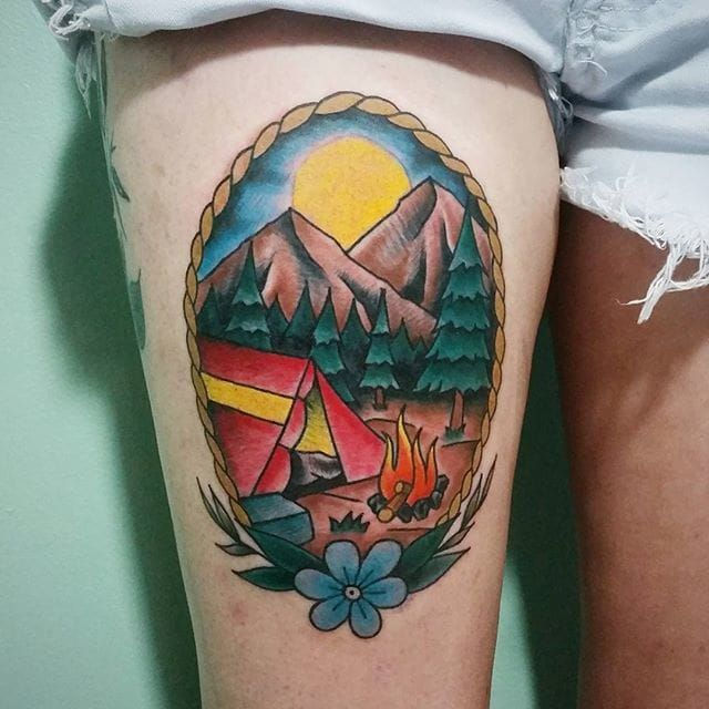 Passionate Camping Tattoos On thigh for Beautiful girls