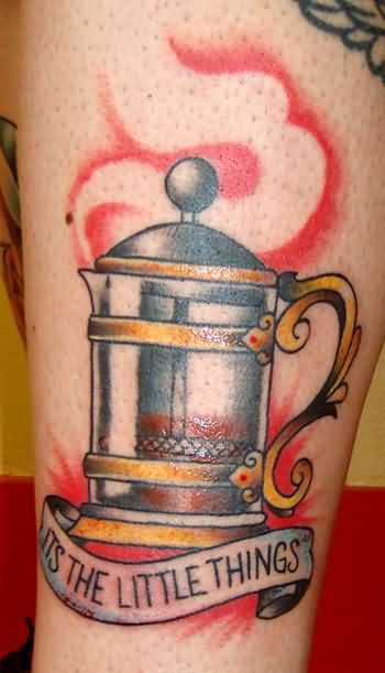 Popular Coffee Tattoo On Arm for men