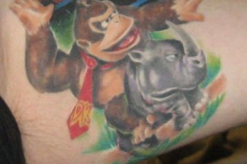 Popular Donkey Kong Tattoos For Guy's thigh
