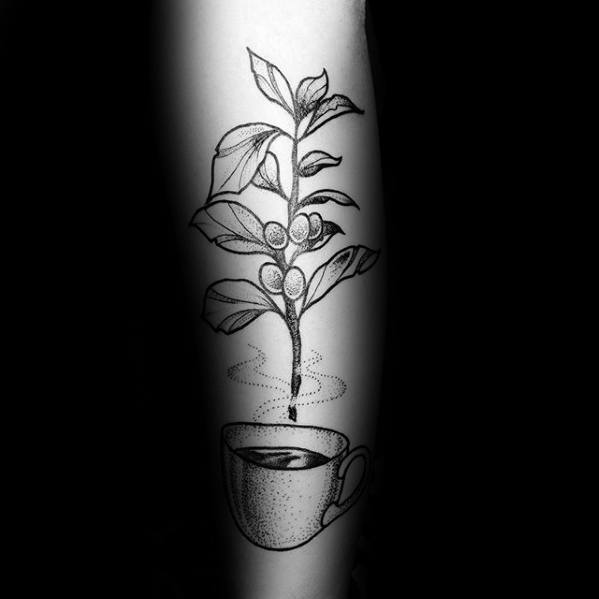 Sensation Coffee Cup Tattoo On Arm for for Ladies
