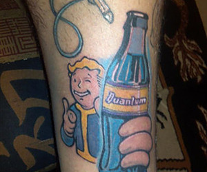 Stunning Fallout Tattoo On leg for men