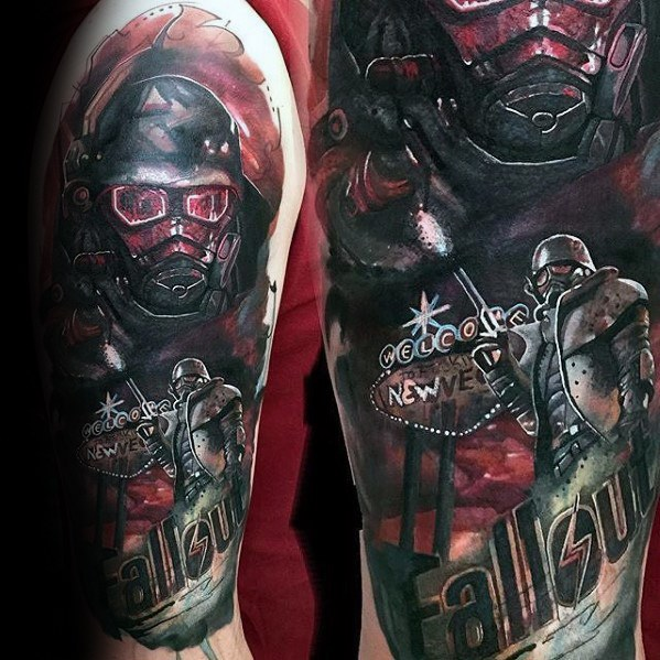 Terrific Fallout Tattoo On shoulder for guy