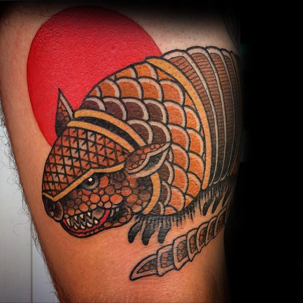 Traditional Armadillo Tattoo On Leg for Men