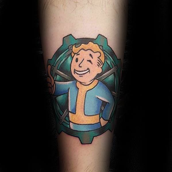 Trendy Fallout Tattoo On leg for women