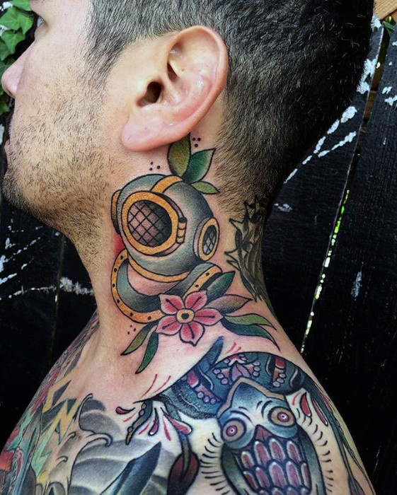 Adorable Diving Helmet Tattoos On neck for boy