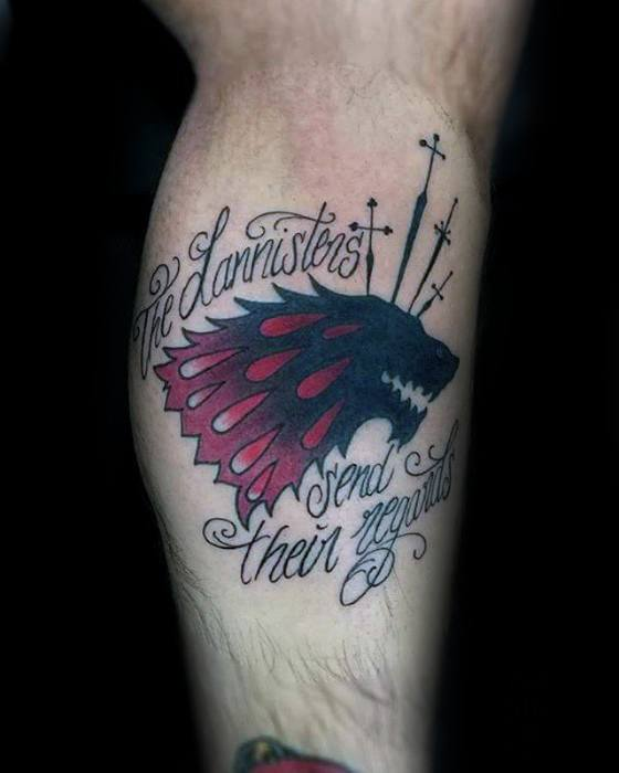 Amazing Game Of Thrones Tattoo On leg for boy