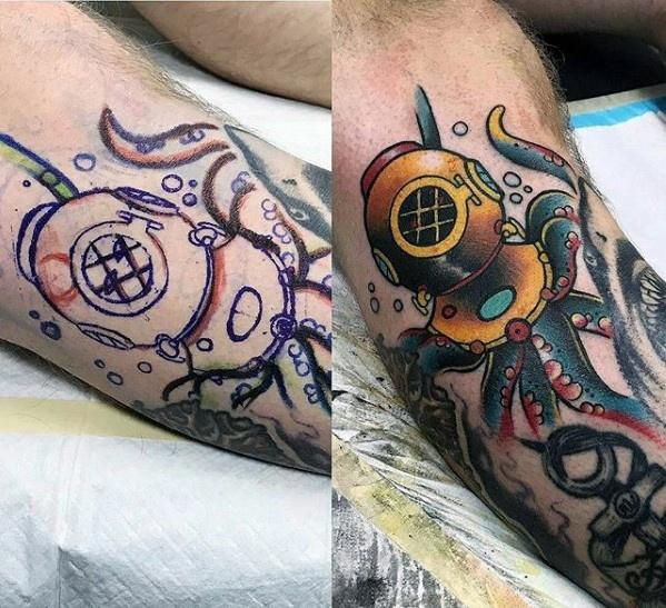 Attractive Diving Helmet Tattoos On leg for Men
