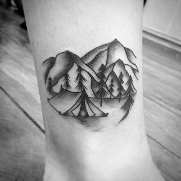 Beautiful Camping Tattoos On foot for Girls