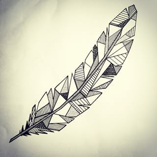 Charming Geometric Feather Tattoo for boy