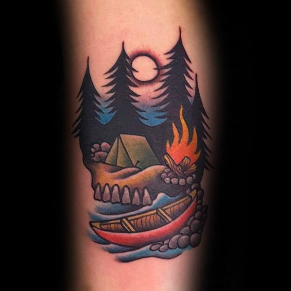 Cool Camping Tattoos On Arm for Beautiful Girls