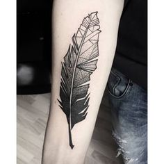 Elegant Geometric Feather Tattoo On arm for men