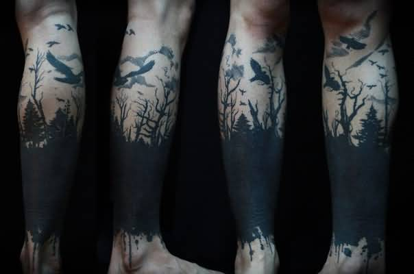 Exclusive Forest Tattoo on leg for guy