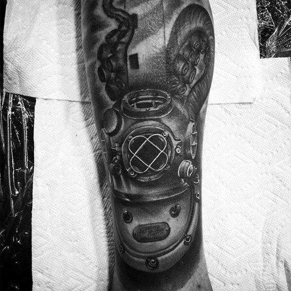 Famous Diving Helmet Tattoos On arm for men