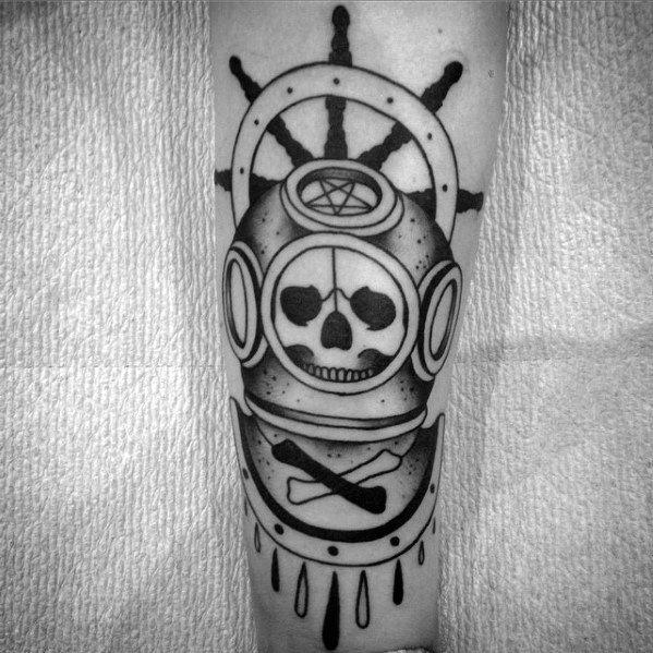 Fantastic Diving Helmet Tattoos On arm for women