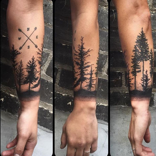Great Forest Tattoos On arm for guy