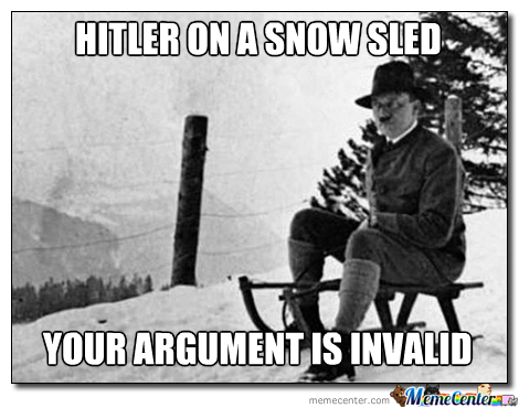Hiltler on a snow sled your argument is invalid Sled Meme