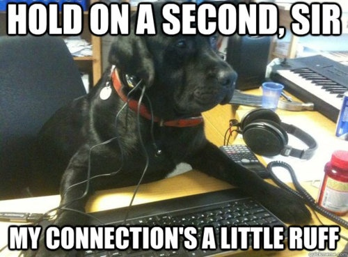 Hold on a second sir my connection's a little ruff Technology Meme