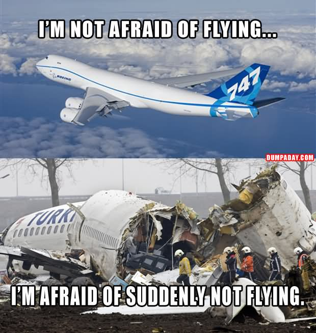 I'm not afraid of flying I'm afraid Plane Meme