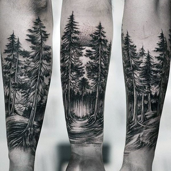 Inspirational Forest Tattoos On Arm for Girl