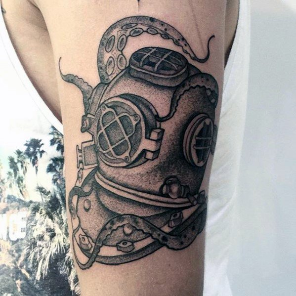 Latest Diving Helmet Tattoos For Boy's arm