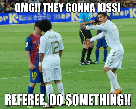 Omg they gonna kiss referee do something Sports Meme