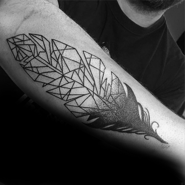 Passionate Geometric Feather Tattoo For guy