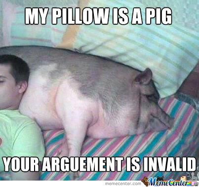 Pigs Meme My pillow is a pig your argument is invalid