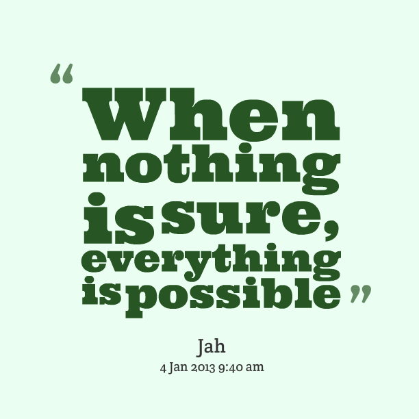 Possible Quotes When nothing is sure everything is possible.
