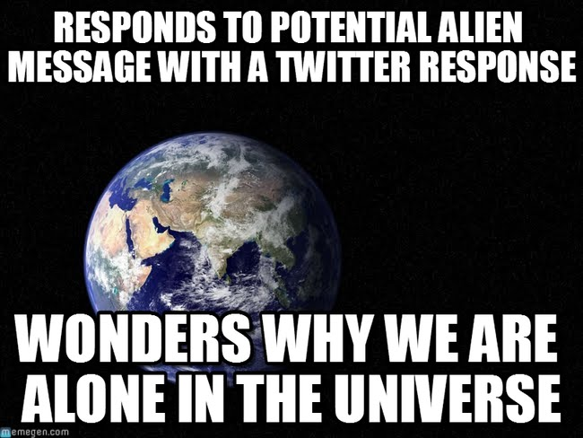 Responds to potential alien message with a twitter Space Memes