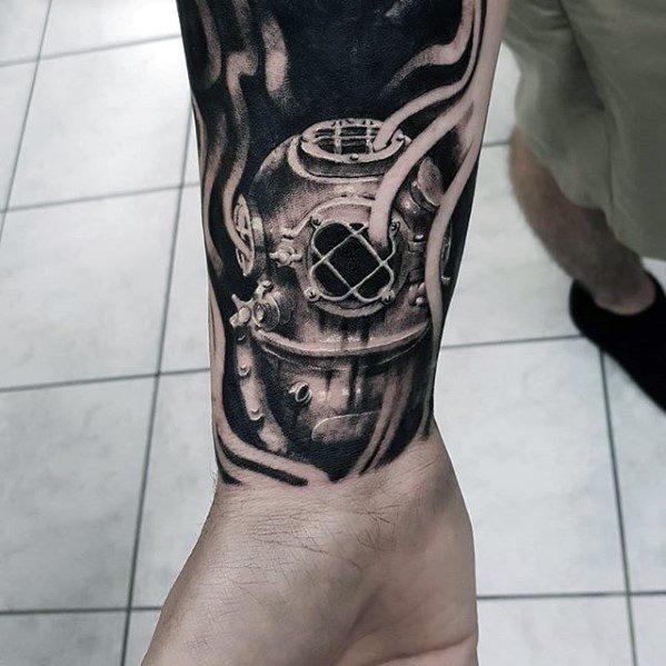 Stunning Diving Helmet Tattoos On hand for men