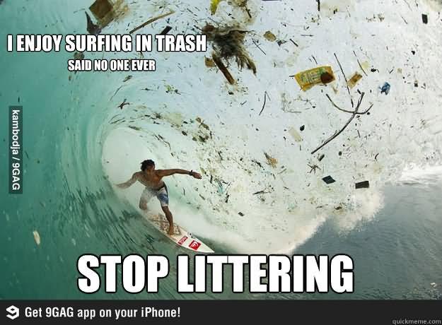 Surfing Meme I enjoy surfing in trash said no one