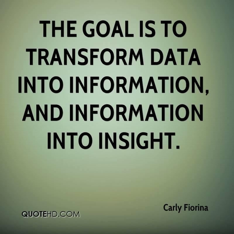 Transform Quotes the goal to transform data into