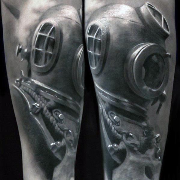 Wonderful Diving Helmet Tattoos On arm for guy