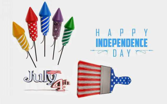 4th Of July Happy Independence America Wishes Card Message With Fireworks Image