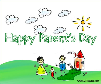 Best Wishes Happy Parents Day Greetings Cute Card Image
