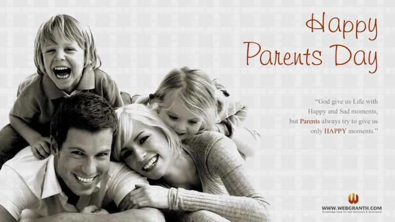 Happy Parents Day God Give Us Life With Happy Wishes Message Image