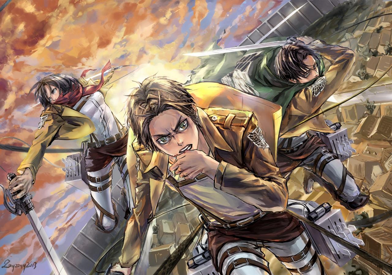 Instale attack on titan hd wallpaper (shingeki no kyojin). Desktop Wallpaper Mikasa Ackerman, Eren Yeager, Levi ...