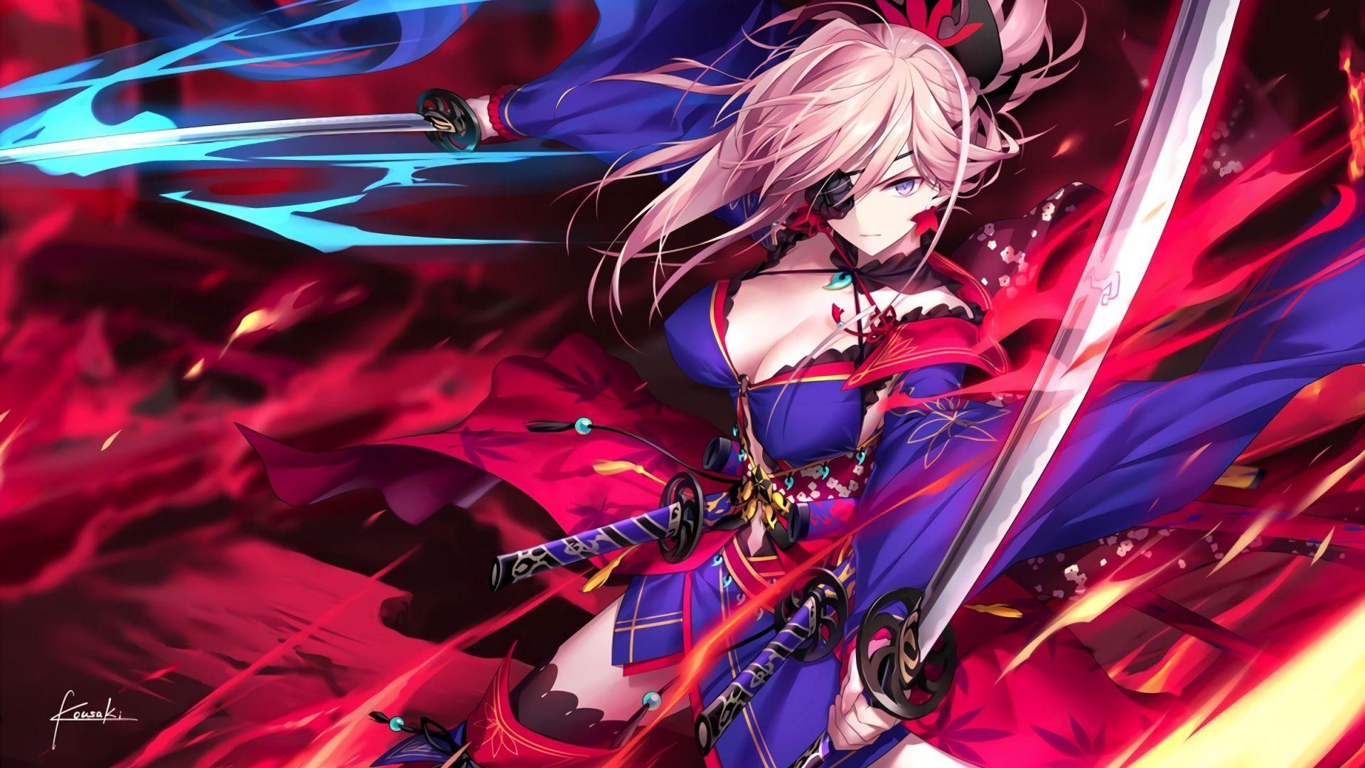 Girl With Katana Wallpaper Desktop Wallpaper Miyamoto Musashi Anime Girl Warrior